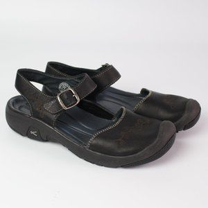 Keen black embroidered leather closed toe sandal